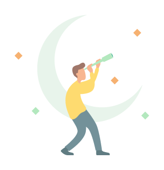Illustration of person with telescope