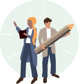 Illustration of marketing professionals